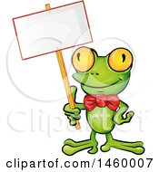 Clipart Of A Happy Frog Wearing A Bowtie And Holding A Blank Sign Royalty Free Vector Illustration by Domenico Condello