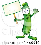 Clipart Of A Green Zucchini Mascot Holding A Blank Sign Royalty Free Vector Illustration