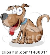 Clipart Of A Cartoon Happy Sitting Brown Dog Royalty Free Vector Illustration