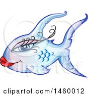 Clipart Of A Cartoon Feminine Gradient Blue And Purple Fish Royalty Free Vector Illustration