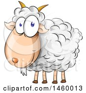 Clipart Of A Cartoon Happy Sheep Royalty Free Vector Illustration by Domenico Condello