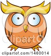Poster, Art Print Of Cartoon Chubby Round Orange Owl