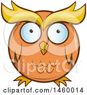 Clipart Of A Cartoon Chubby Round Orange Owl Royalty Free Vector Illustration by Domenico Condello