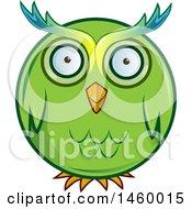 Poster, Art Print Of Cartoon Chubby Round Green Owl