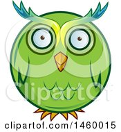 Clipart Of A Cartoon Chubby Round Green Owl Royalty Free Vector Illustration by Domenico Condello