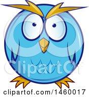 Poster, Art Print Of Cartoon Chubby Round Blue Owl