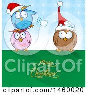 Poster, Art Print Of Cartoon Group Of Chubby Owls Having A Snowball Fight With Merry Christmas Text
