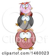 Clipart Of A Cartoon Stack Of Round Owls Royalty Free Vector Illustration by Domenico Condello