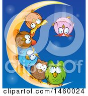 Poster, Art Print Of Cartoon Group Of Chubby Round Owls On A Crescent Moon One Falling Off