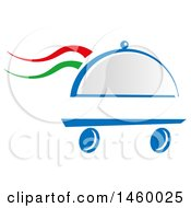 Clipart Of A Wheeled Cloche Platter With Italian Themed Steam Royalty Free Vector Illustration by Domenico Condello
