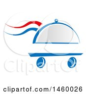 Clipart Of A Wheeled Cloche Platter With French Themed Steam Royalty Free Vector Illustration by Domenico Condello