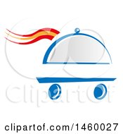 Clipart Of A Wheeled Cloche Platter With Spanish Themed Steam Royalty Free Vector Illustration by Domenico Condello