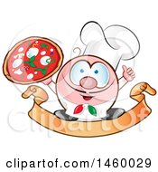 Clipart Of A Cartoon Italian Chef Holding A Pizza And Thumb Up On A Banner Royalty Free Vector Illustration