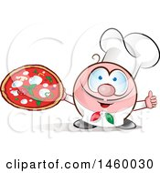 Clipart Of A Cartoon Italian Chef Holding A Pizza And Thumb Up Royalty Free Vector Illustration