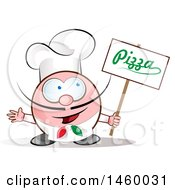 Clipart Of A Cartoon Italian Chef Holding A Pizza Sign Royalty Free Vector Illustration by Domenico Condello