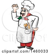 Clipart Of A Cartoon Italian Chef Gesturing Perfect Or Okay Royalty Free Vector Illustration by Domenico Condello