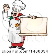 Clipart Of A Cartoon Italian Chef Gesturing Perfect Or Okay And Holding A Blank Menu Or Sign Royalty Free Vector Illustration by Domenico Condello