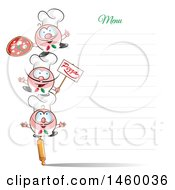 Clipart Of A Tower Of Italian Chefs On A Blank Menu Board Royalty Free Vector Illustration