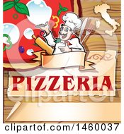 Clipart Of A Cartoon Italian Chef Presenting A Pizza Over Pizzeria Text On Wood Royalty Free Vector Illustration by Domenico Condello