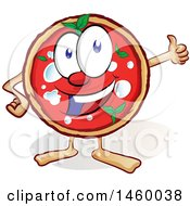 Clipart Of A Cartoon Happy Pizza Mascot Giving A Thumb Up Royalty Free Vector Illustration by Domenico Condello