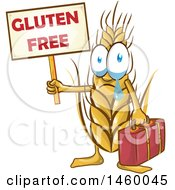 Clipart Of A Crying Wheat Mascot Holding A Gluten Free Sign Royalty Free Vector Illustration