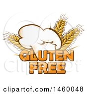 Clipart Of A Toque Chef Hat And Gluten Free Text With Wheat Royalty Free Vector Illustration