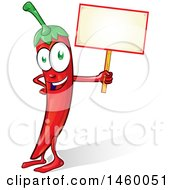 Clipart Of A Spicy Red Chile Pepper Devil Mascot Holding A Blank Sign Royalty Free Vector Illustration by Domenico Condello
