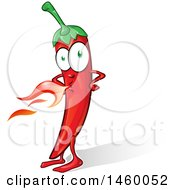 Clipart Of A Spicy Red Chile Pepper Mascot Breathing Fire Royalty Free Vector Illustration