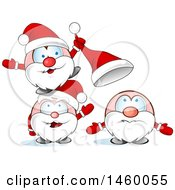 Clipart Of A Group Of Christmas Santas Playing With A Hat Royalty Free Vector Illustration by Domenico Condello