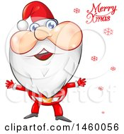 Clipart Of A Santa Claus With Red Snowflakes And Merry Xmas Text Royalty Free Vector Illustration