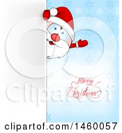 Clipart Of A Santa Claus Waving Around A Sign Over A Blue Snowflake Background And Merry Christmas Text Royalty Free Vector Illustration by Domenico Condello