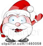 Clipart Of A Christmas Santa Claus Waving Royalty Free Vector Illustration