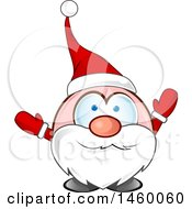 Clipart Of A Christmas Santa Claus Welcoming Royalty Free Vector Illustration