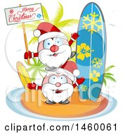 Clipart Of A Christmas Santas On An Island With A Surfboard And Merry Christmas Sign Royalty Free Vector Illustration