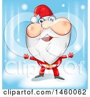 Clipart Of A Welcoming Christmas Santa Claus Over A Blue Background Royalty Free Vector Illustration
