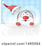 Clipart Of A Christmas Santa Claus Looking Over A Sign Against Snowflakes Royalty Free Vector Illustration by Domenico Condello
