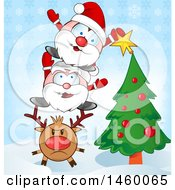 Clipart Of A Christmas Reindeer With Santas Applying A Star To A Christmas Tree Royalty Free Vector Illustration