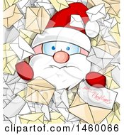 Clipart Of A Santa Claus Buried In Letters With Merry Christmas Text Royalty Free Vector Illustration