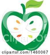 Clipart Of A Green Apple And Seeds Design Royalty Free Vector Illustration