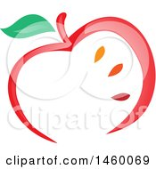 Clipart Of A Red Apple And Seeds Design Royalty Free Vector Illustration