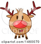 Clipart Of A Christmas Reindeer With A Red Nose Royalty Free Vector Illustration
