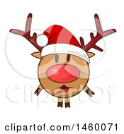 Clipart Of A Christmas Reindeer Wearing A Santa Hat Royalty Free Vector Illustration