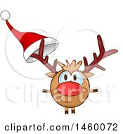 Clipart Of A Christmas Reindeer With A Santa Hat On His Antler Royalty Free Vector Illustration
