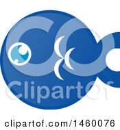 Clipart Of A Chubby Round Blue Fish Royalty Free Vector Illustration by Domenico Condello