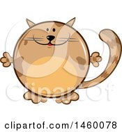Clipart Of A Cartoon Chubby Round Brown Cat Royalty Free Vector Illustration