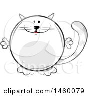 Clipart Of A Cartoon Chubby Round White Cat Royalty Free Vector Illustration
