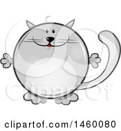 Clipart Of A Cartoon Chubby Round Gray Cat Royalty Free Vector Illustration
