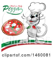 Clipart Of A Cartoon Chef Cat Holding A Pizza Pie With Made In Italy Pizza Text On An Italian Swoosh Royalty Free Vector Illustration by Domenico Condello