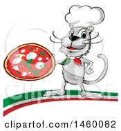 Clipart Of A Cartoon Chef Cat Holding A Pizza Pie On An Italian Swoosh Royalty Free Vector Illustration by Domenico Condello