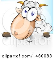 Clipart Of A Cartoon Happy Sheep Over A Sign Royalty Free Vector Illustration by Domenico Condello